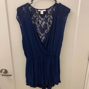 Blue lace-back romper